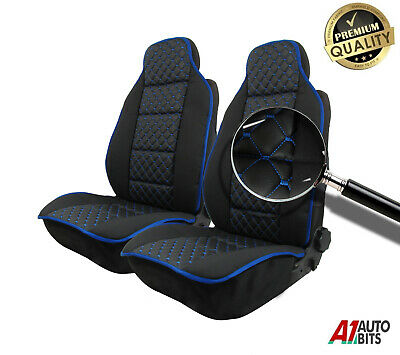 Set Front Universal Padded Premium Blue Cross Stitch Leatherette Car Seat Covers