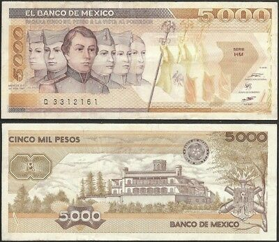 MEXICO - 5000 pesos 1987 P# 88b America banknote - Edelweiss Coins