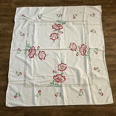 """Vintage Embroidered Tablecloth 42"""" rectangle red poppy floral oblong handmade"""