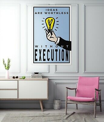 """Motiv-Art """"Ideas are worthless without execution"""" Monopoly Wall Art / Motivation"""