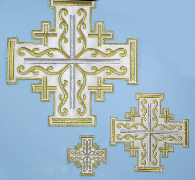"""Jerusalem Cross Embroidered Satin Iron On applique in Three sizes 10"""",6"""" 3"""""""