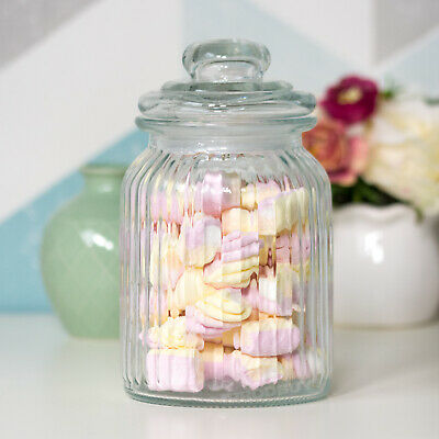 990ml Retro Ribbed Glass Sweets Sweetie Storage Jar Canister Wedding Table Party