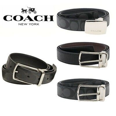 NEW Men/'s COACH Reversible Belt Cut To Size Black Brown Textured Leather F59116