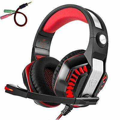 Gaming Kopfhörer PS4 PC, Beexcellent GM-2 Gaming Headset Overear mit (Rot)
