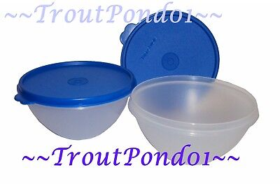 New TUPPERWARE Classic Wonderlier Nesting 2 Mixing Bowl Set 2C Blue Seals