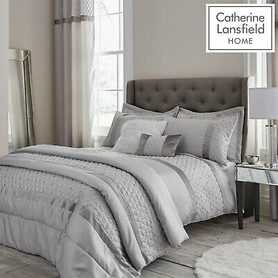 Catherine Lansfield Sequin Cluster Silver Grey Duvet Quilt Cover Set Collection