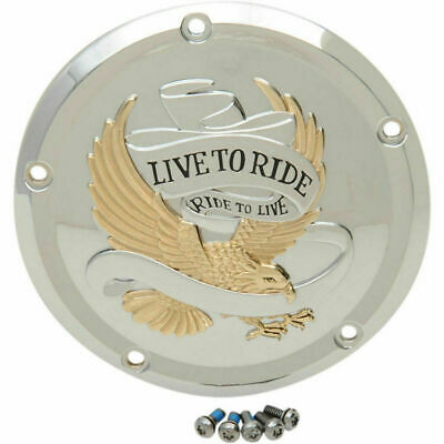 Drag Specialties Gold Live to Ride Derby Cover for 2016-2018 Harley Touring