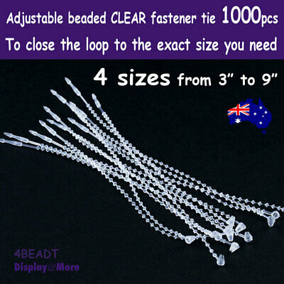 LOOP Pin Ties Fastener BARB Beaded | 1000pcs | CLEAR Adjustable | AUSSIE Seller