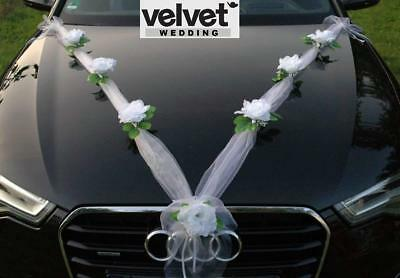 Wedding Car Decoration Decorations Kit Set White Roses Organza Free door ribbons