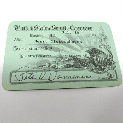 1975 United States Senate Pass Pete Domenici Washington DC NM 94th Congress 1st