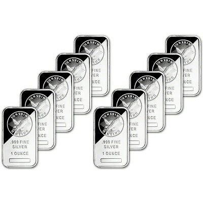 TEN (10) 1 oz. Silver Bar - Sunshine Minting - .999 Fine - Sealed