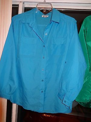 RHONDA LEE Ladies Womens Size Large Sky Blue Top Blouse Long Sleeve Button Front