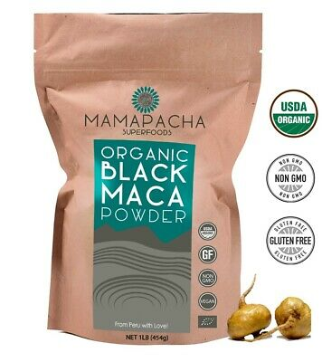 Black Maca Powder Organic Raw 1LB (454g) - 100% Premium Peruvian Raw Black Maca