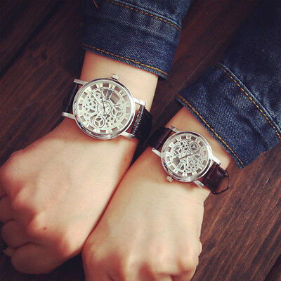 Fashion Men's watches Date Leather Stainless Steel Military Sport Wrist Watch