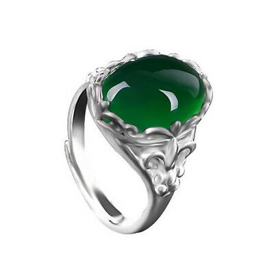 Emerald Women 925 Silver Jewelry Wedding Gift Engagement Ring Opening Adjustable