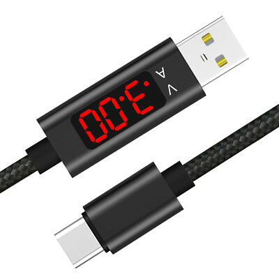 Voltage Current LED Display Type-c USB Sync Charging Cable for Samsung iPhone T