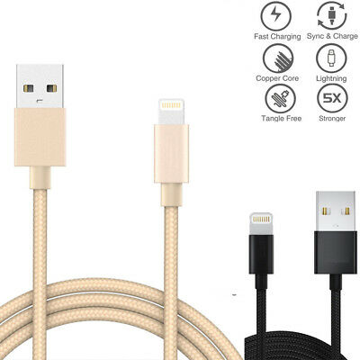 Metal Nylon Braided Lightning USB Data Sync Charging Cable For iPhoneX 8 7 6  US