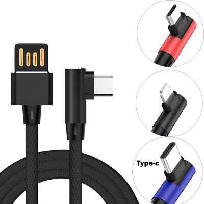 NEW Nylon Braided 2.4 A Fast Charging Sync Data Cable With L-shaped 90 Angel 3FT
