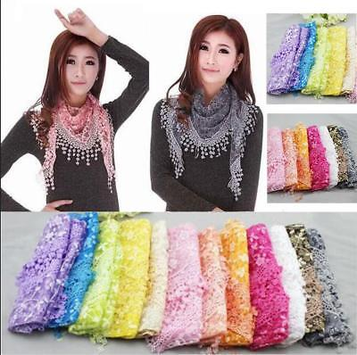 New Fashion Women's Crochet Floral Lace Sheer With Funky Tassel Triangle Scarf