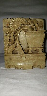 Hand Carved Chinese Soap Stone Flowers in Pot Sculpture