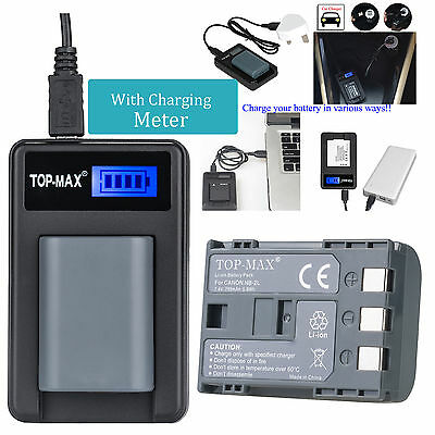 Battery+USB Charger for NB-2L NB-2LH Canon EOS 350D 400D G7 G9 ZR100 ZR200 ZR300