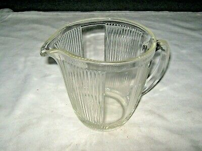 A Large Vintage Retro 1950's Clear Glass Ribbed Panel Juice Water Drinks Jug