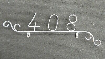 Rustic Art Deco Wrought Iron House Number  408  Hand Forged