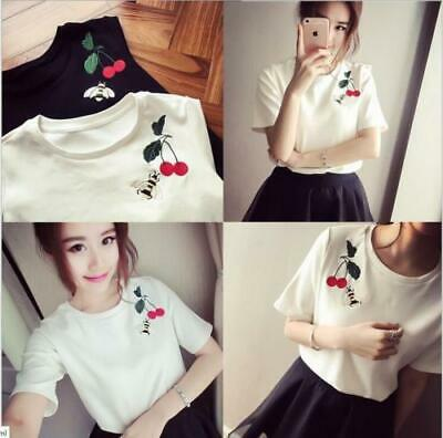 f3e7c23ca5b Girls Women Fashion T-Shirts Korean Style Loose Short Sleeve Summer Blouses  Tops