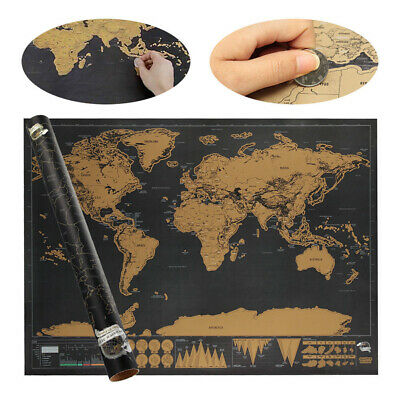 Large Scratch Off World Map Deluxe Edition Personalised Travel Tracker Poster UK