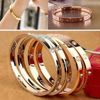 Women Stainless Steel Screw Head Love Cuff Bangle Bracelet Wedding Party Unisex