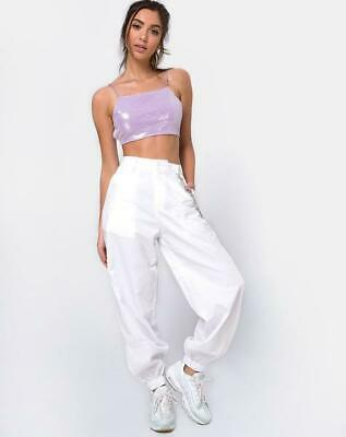 3d645d1279a8a9 MOTEL ROCKS Sasha Crop Top in Matte Mini Sequin Lilac Size XS Extra Small  (mr52