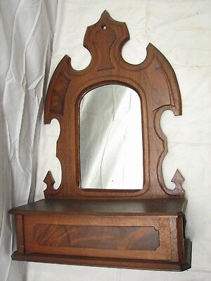 Antique Wooden Mirrored Wall Colonial Candlebox Pocket Lidded Candle Box Mirror