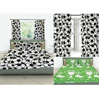 "Football Themed Bedroom - Single & Double Duvet Cover Set / Curtains 54"" & 72"""