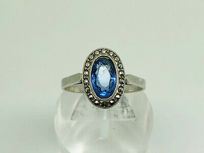 Art Deco French Sterling Silver Sapphire Paste & Marcasite Cocktail Ring Size O