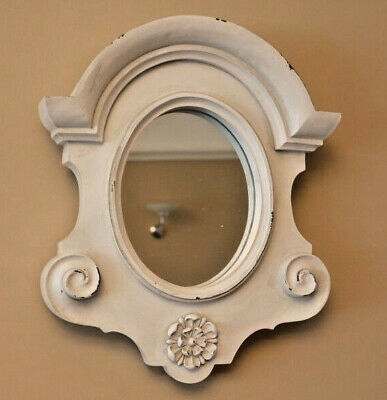 Ornate Oval Wall Mounted Mirror White Shabby Chic Baroque Floral Decoration New