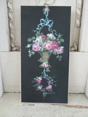 OMG Christie REPASY CANVAS PRINT French Hanging Basket Pink Roses Black Bkgd