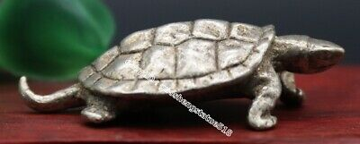 5.5 CM China Miao Silver Handwork Fengshui Animal Tortoise Turtle amulet Statue