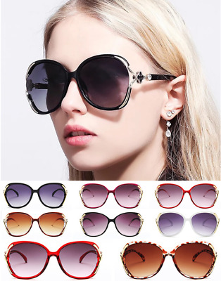 Women Personality Big Frame Sunglasses Hollowing Four Leaf Clover Inlay Sunglass