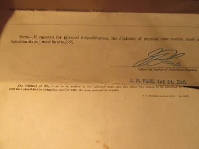 Induction Letter Order to Report WWII Rejected US Army & Aircraft Training Card