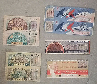 Lot 5 Billet De Loterie Nationale 1942