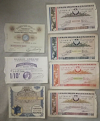 Lot 7 Billet De Loterie Nationale 1935