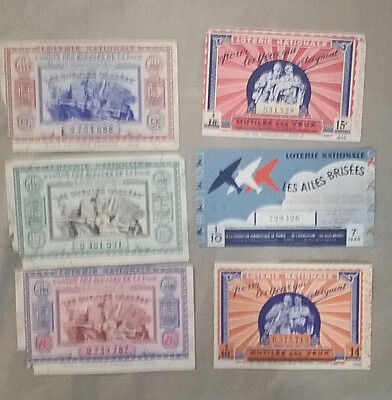 Lot 6 Billet De Loterie Nationale 1940
