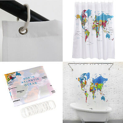 Map of the World Shower Curtain with Detailed Major Cities Large Home Décor 71''