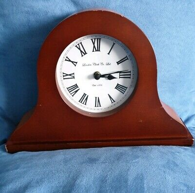 London Clock Co. Ltd. Wood Mantle Clock Est 1876 napoleon style Quartz.