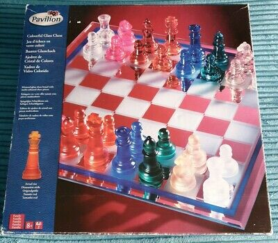 Pavilion Colourful Glass Chess Set with mirror glass board