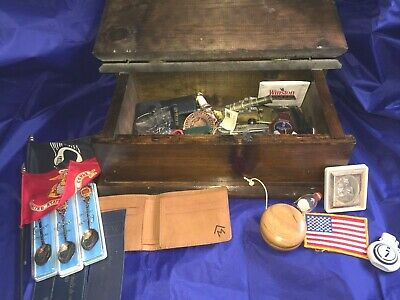 Vintage Junk Drawer Lot In Mens Wooden Eagle Box