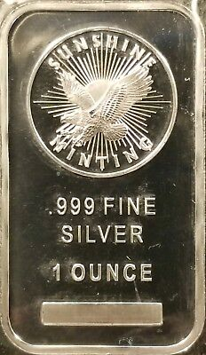 Sunshine Minting 1 oz Bar .999 Fine Silver Bullion - Mint Sealed