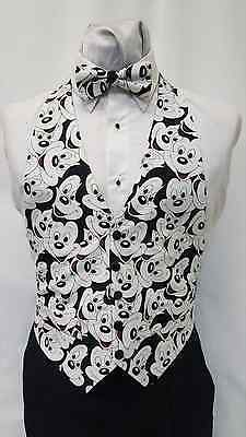 44290d67d4c4 Medium Mens Mickey Mouse Tuxedo Vest & Bow Tie Walt Disney Character Black  White