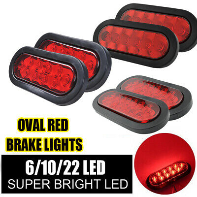 """2 X Clear//Amber 6/"""" 10 LED Oval Truck Trailer Stop Turn Brake Tail Light"""
