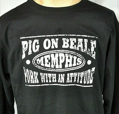 Pig On Beale BBQ With Attitude Memphis TN L Long Sleeve T-Shirt Large Mens